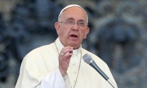 Pope Francis blasts climate change deniers in the draft. Photograph: Franco Origlia/Getty Images