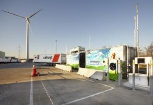 Waterstofgas tankstation bij het Belgische Colruyt
